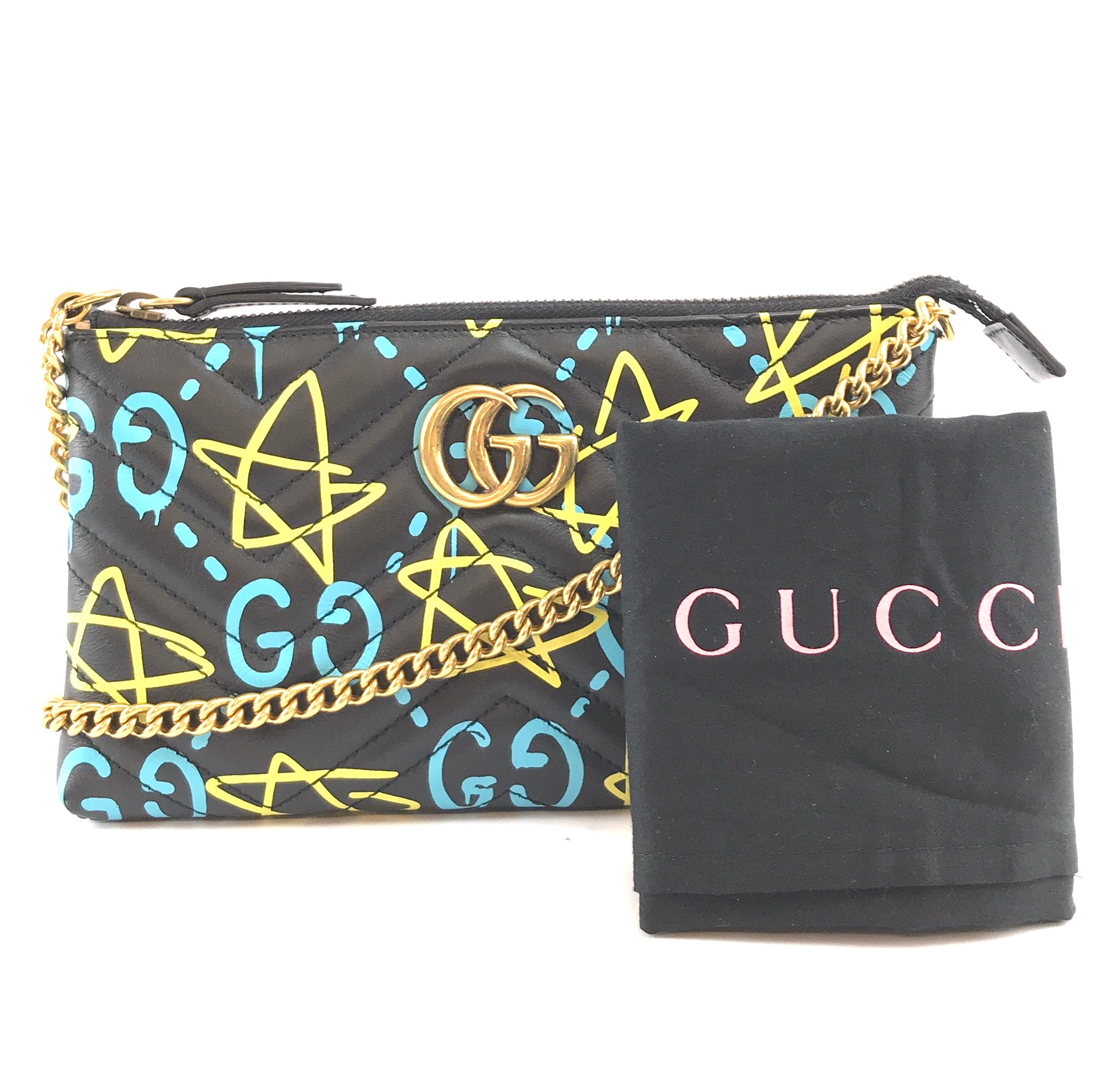 Gucci Marmont Ghost GG Long Chain Black Leather