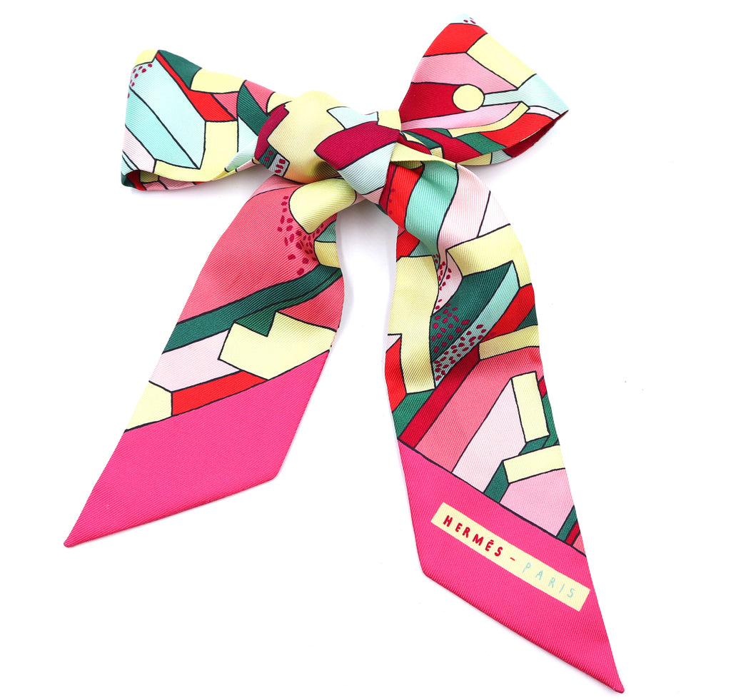 Hermès Multicolor Twilly Logo Block Silk Scarf/Wrap