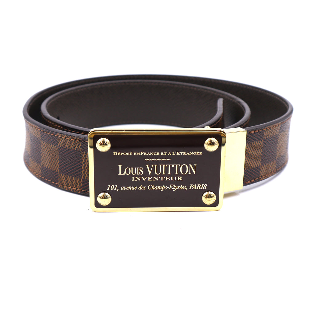 Louis Vuitton Damier Ebene Inventeur Buckle Leather Belt Size 90/36
