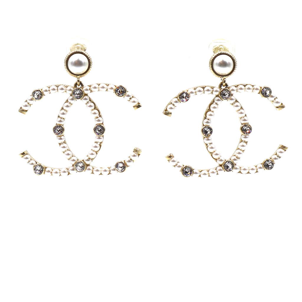 Chanel Gold CC Pearls Crystal Dangle Clip On Earrings