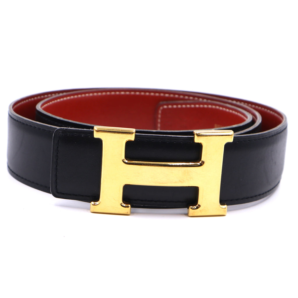 Hermès 32mm Classic Gold H Reversible Leather Belt Size 85