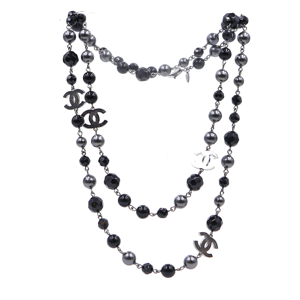 Chanel Black Beads Single Double Strand Long Necklace
