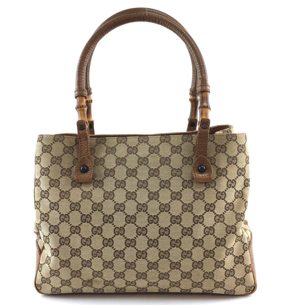 Gucci Tote GG Brown Canvas and Leather