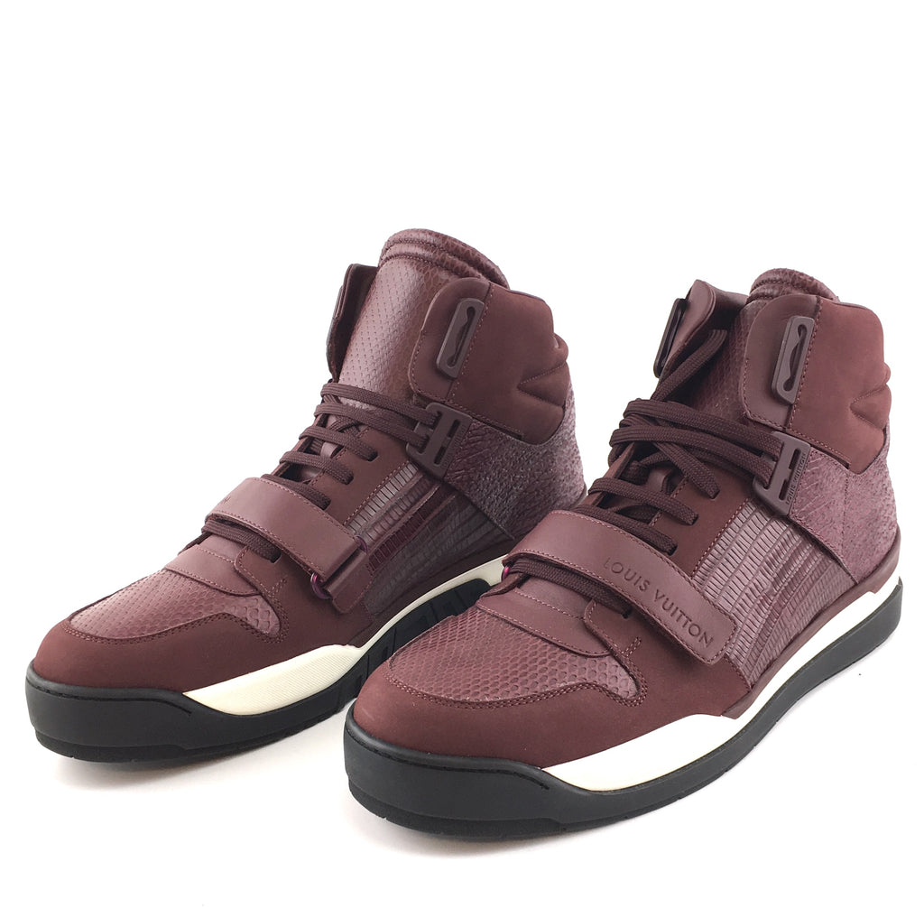 Louis Vuitton Burgundy Trailblazer Leather Lizard Python Sneakers