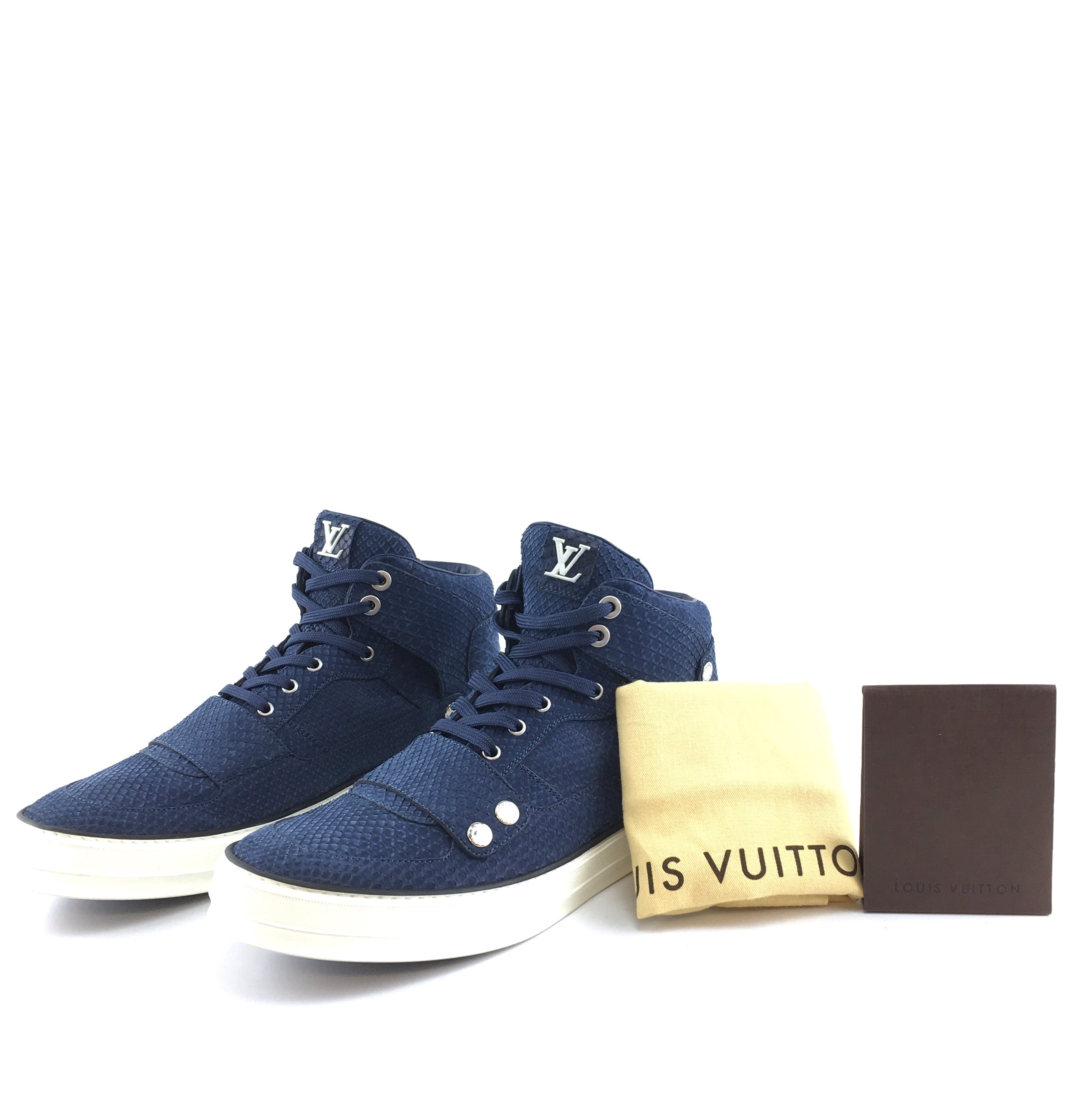 Louis Vuitton California Limited Blue Python Skin Sneakers