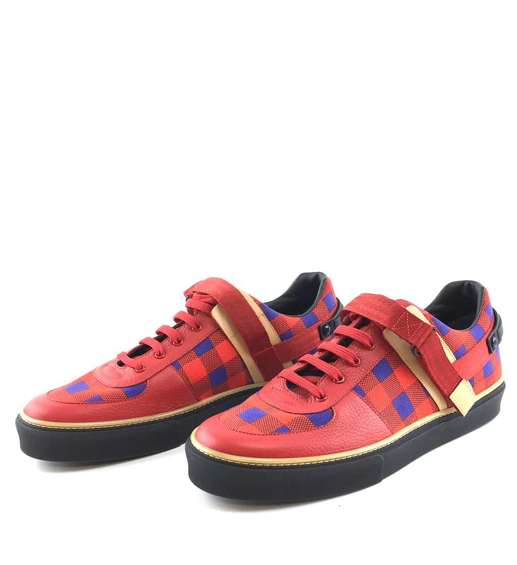 Louis Vuitton Damier Masai Checkered Red Blue Sneakers
