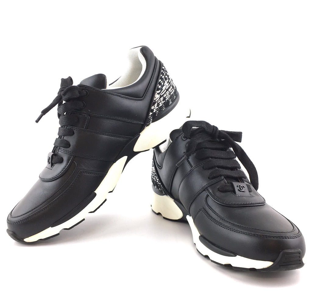 Chanel Black White CC Logo Sneakers