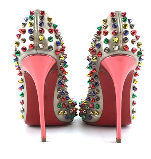 Christian Louboutin Gold Multicolor Studs Spikes Follies Spikes 120 Soecchio Pumps