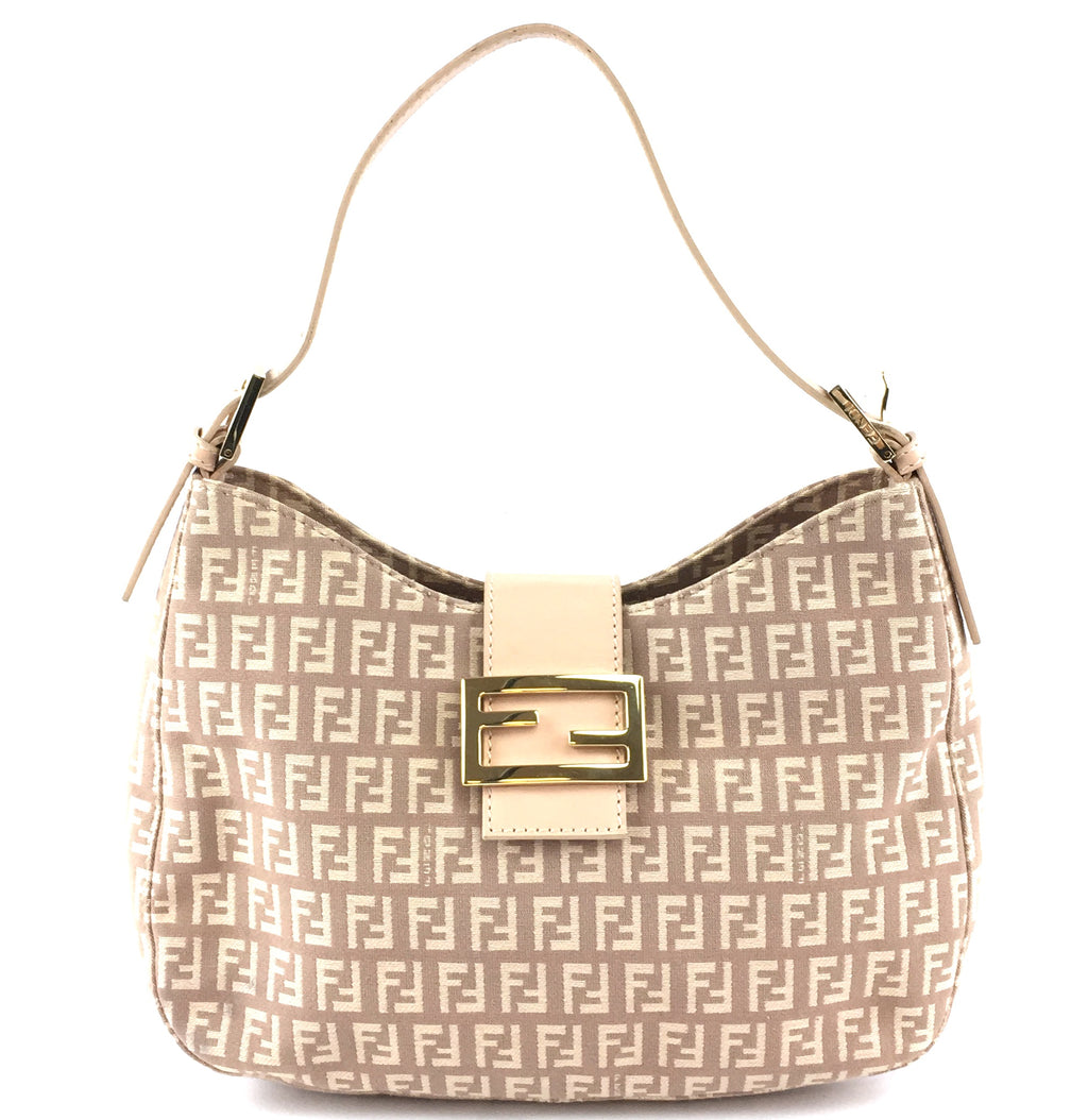 Fendi Zucchino Baguette Pink Canvas and Leather
