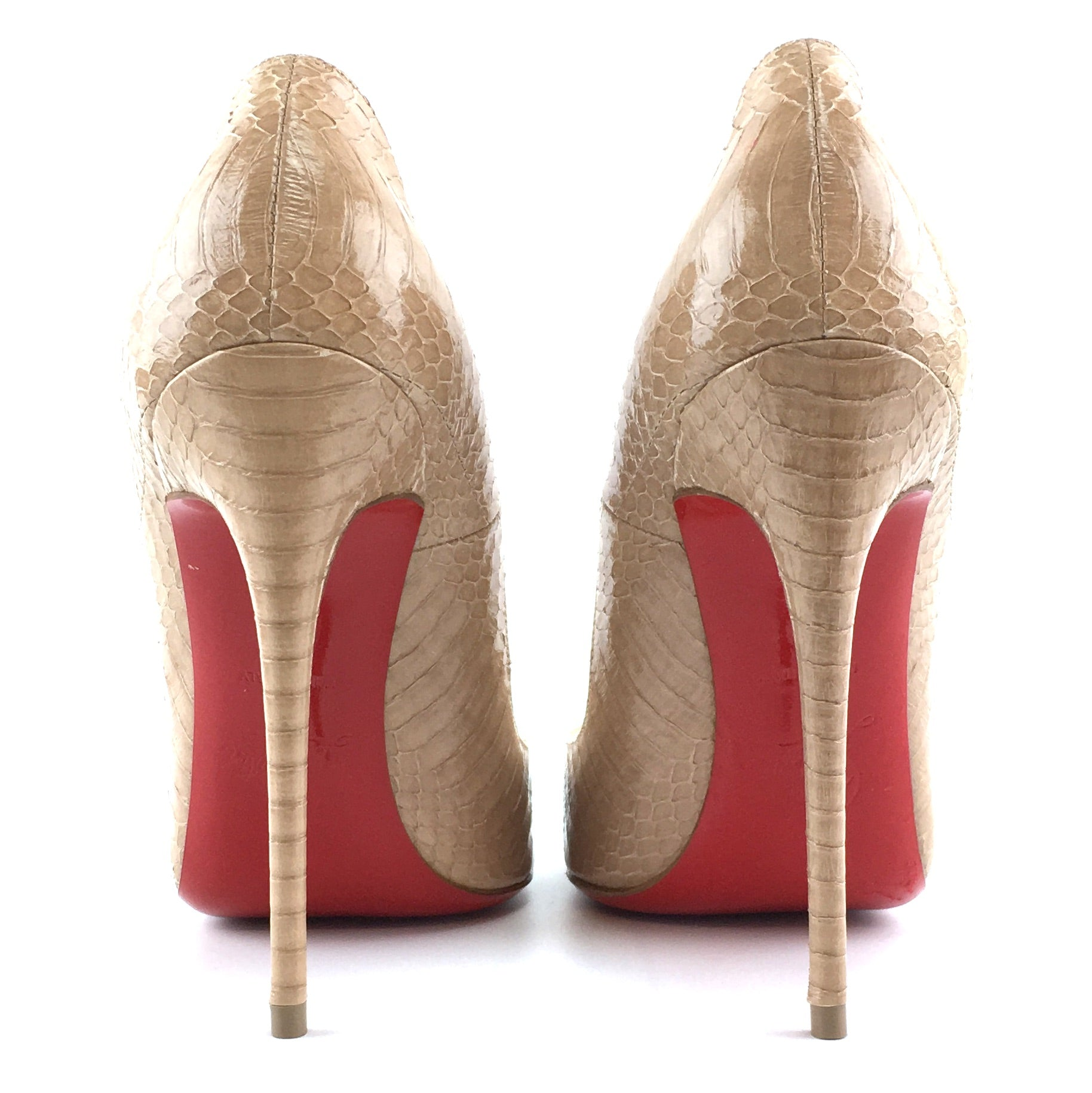 Christian Louboutin Gold So Kate 120 Embossed Watersnake Nude Pumps