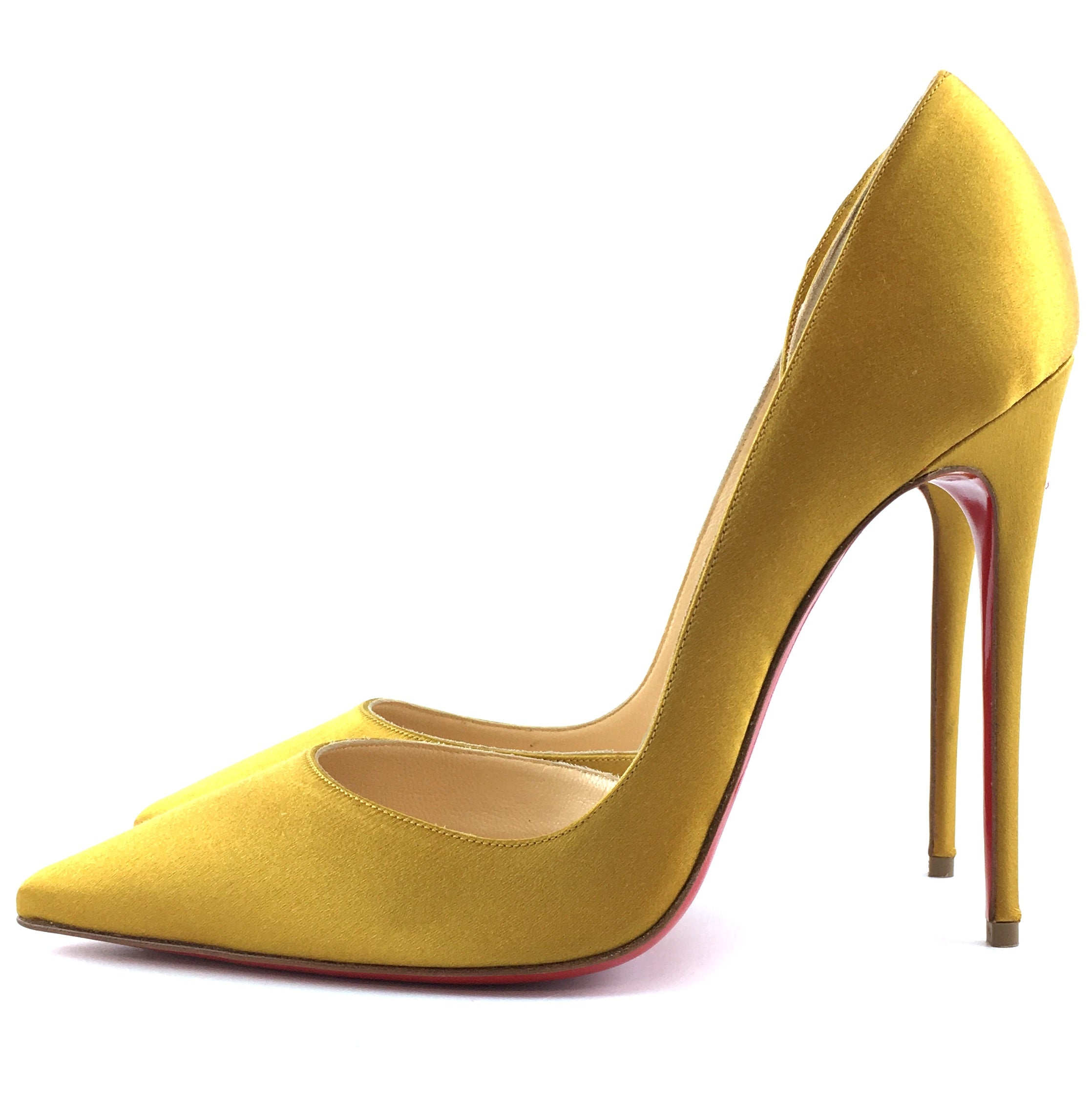 Christian Louboutin Yellow Iriza 120 Satin Tilleul Pumps