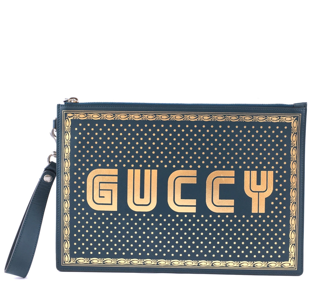 Gucci GUCCY Logo Zipped Pochette Green Gold Leather