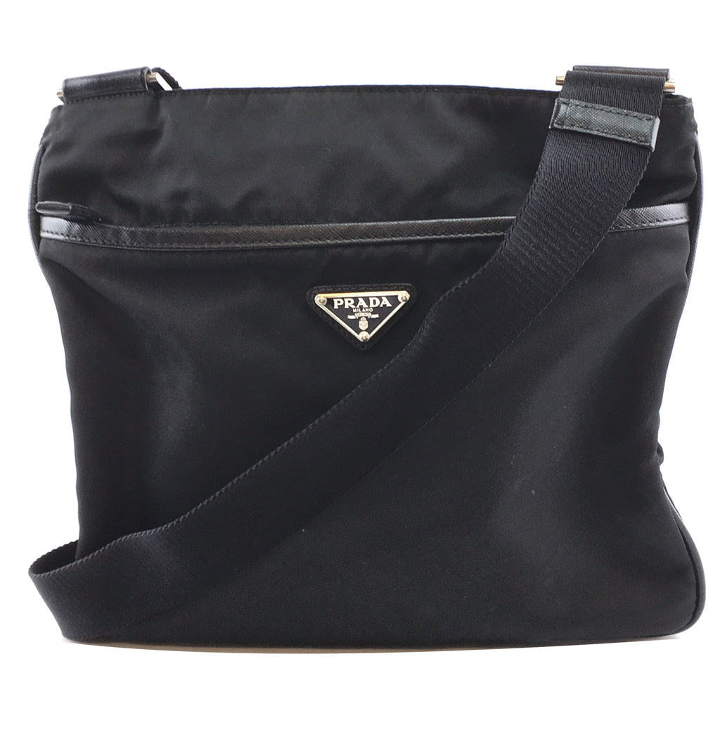 Prada Plaque Vela Black Nylon and Leather
