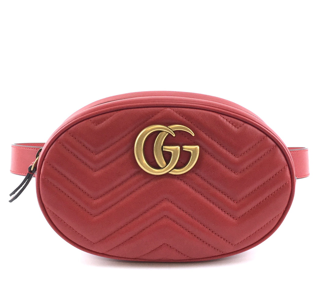 Gucci Waist Bag Marmont GG Red Leather