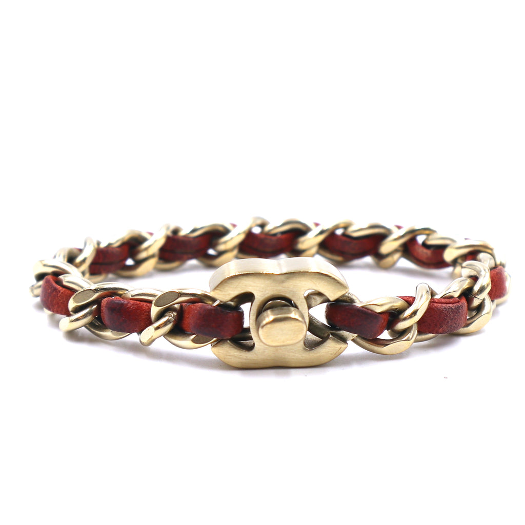 Chanel Red CC Turnlock Leather Gold Chain Bracelet