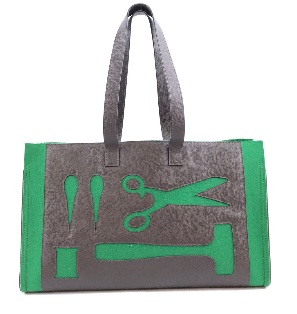 Hermès Petit H Skeleton GM Green Brown Leather