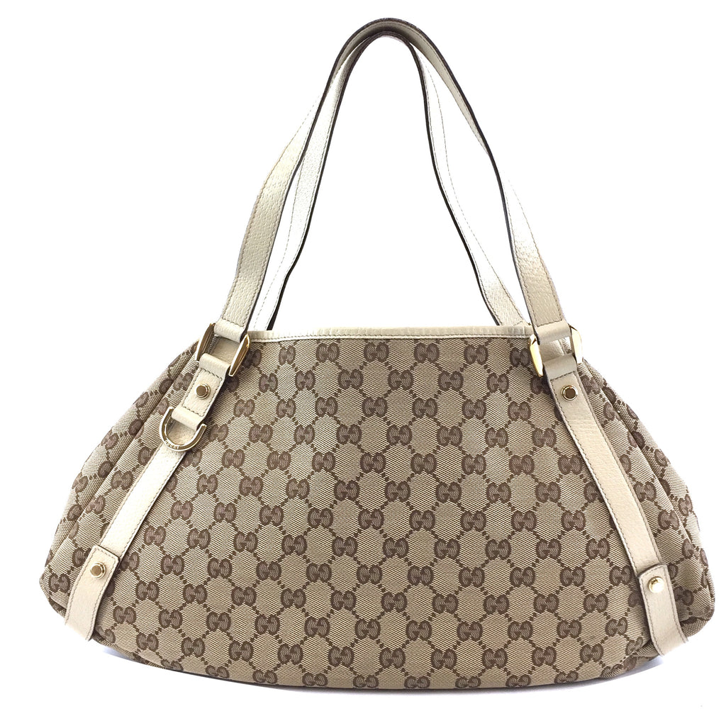 Gucci Abbey Tote Medium GG Beige Canvas and Leather