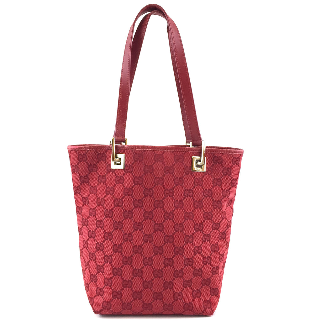 Gucci Small Tote GG Guccissima Red Canvas and Leather