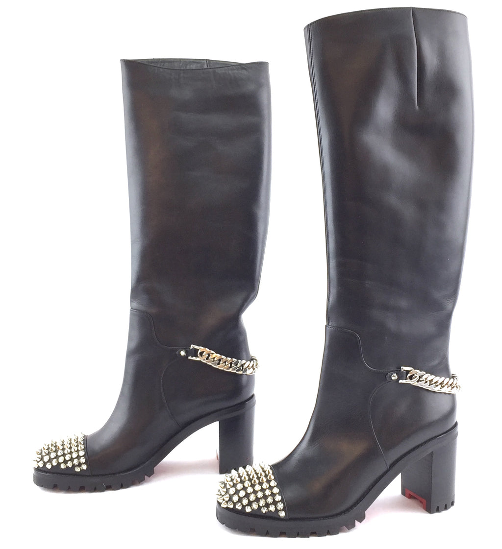 Christian Louboutin Studed Chains Napa Leona 70 Calf Leather Boots