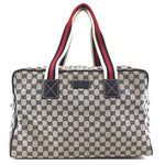 Gucci Boston Bag Collapsible GG Beige Black Canvas