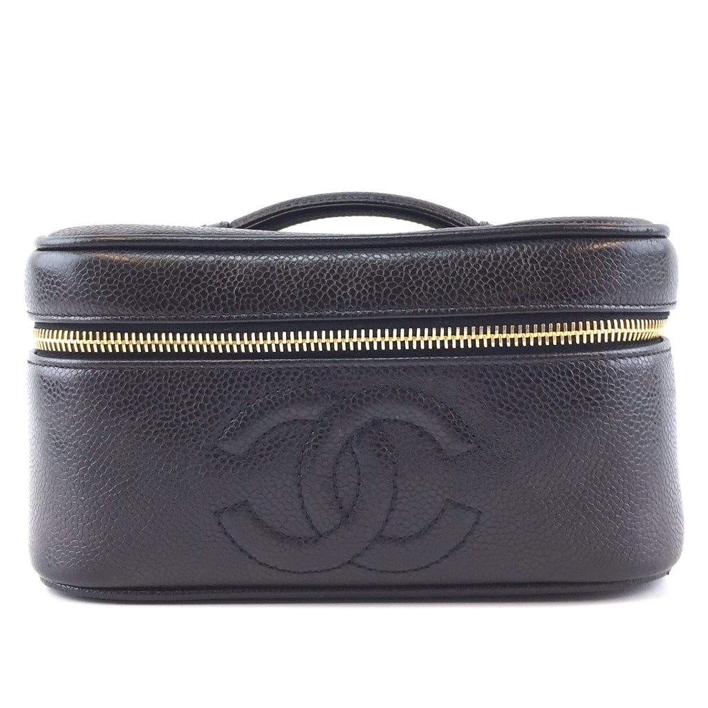 Chanel Vanity Case CC Black Caviar Leather