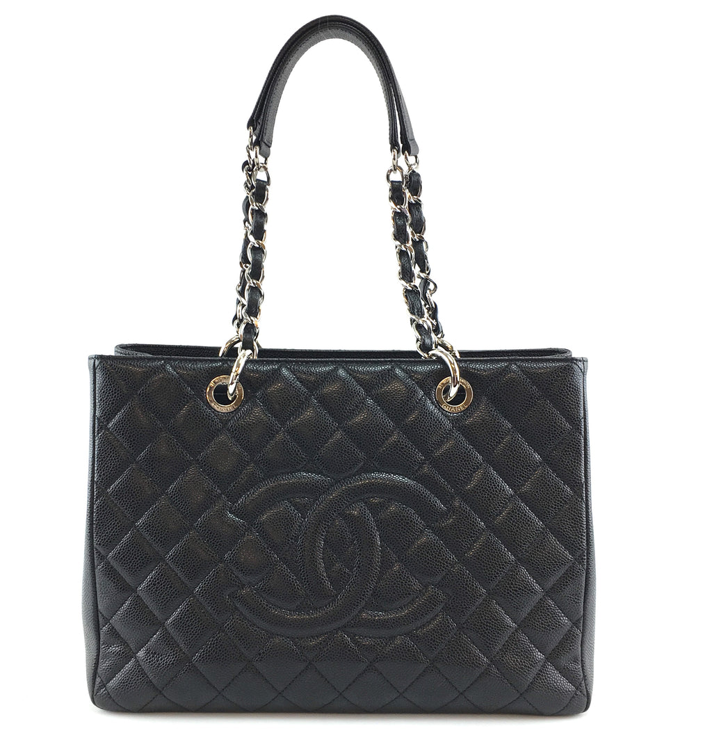 Chanel Gst Grand Shopping Black Quilted Caviar Leather