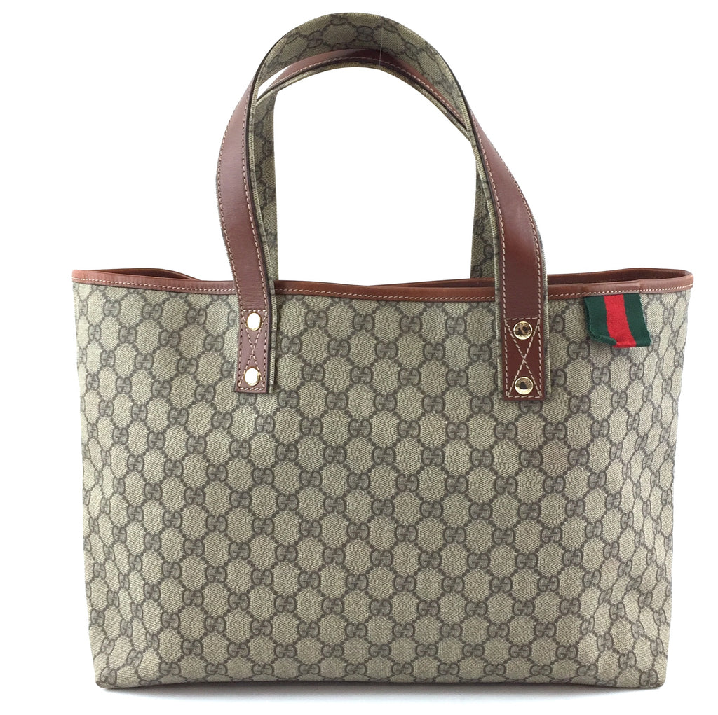 Gucci Tote GG Supreme Web Loop Brown Canvas and Leather