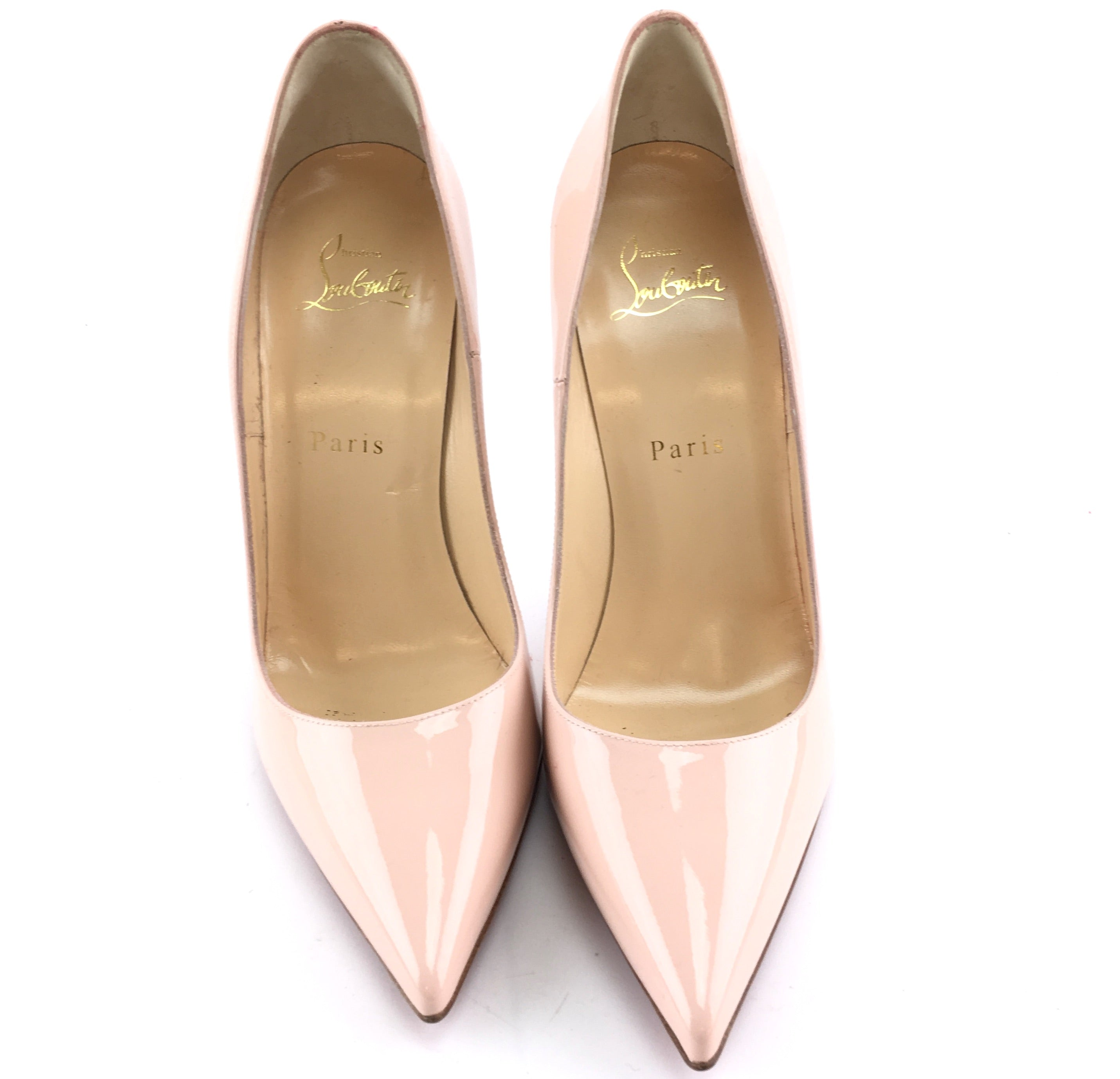 Christian Louboutin Beige So Kate 120 Patent Pigalle Follies Patent Leather Pumps