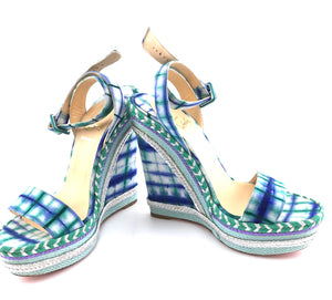 Christian Louboutin Multicolor Espadrille Knotted Duplice 140 Bazin Sandals Wedges