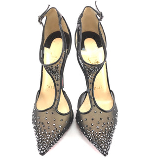 Christian Louboutin Black Spikes Follies Strass Salopatina 120 Pumps