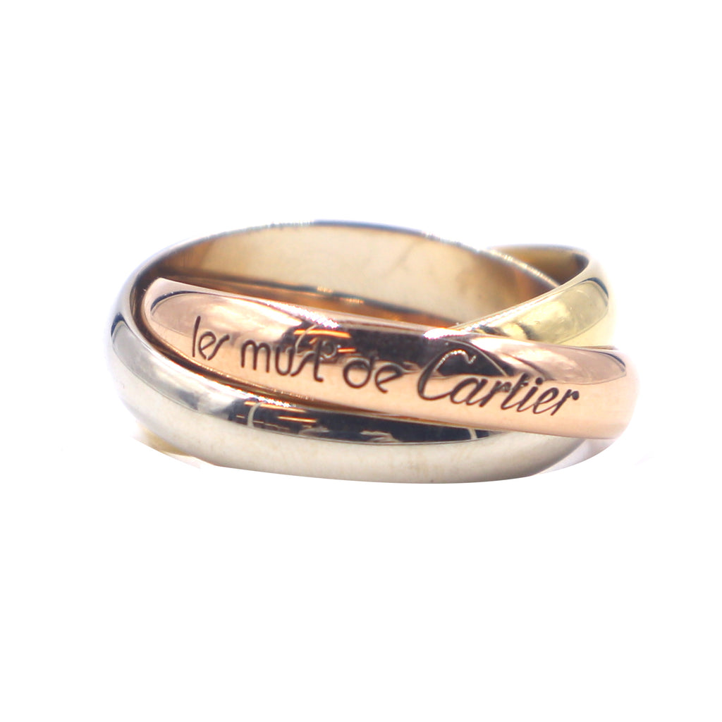 Cartier Tricolor 18k Trinity Ring Size 52