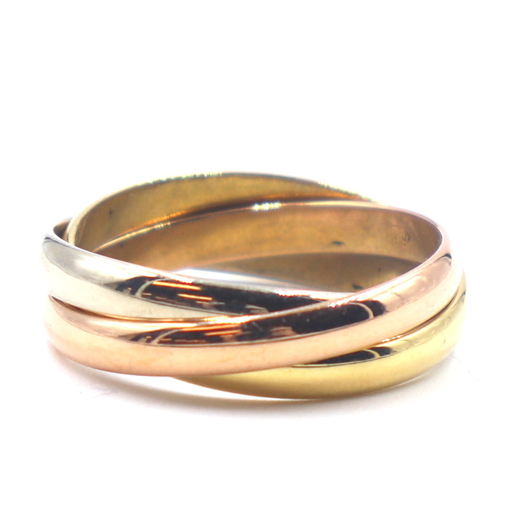 Cartier 18k 750 Tricolor Trinity Ring Size 50