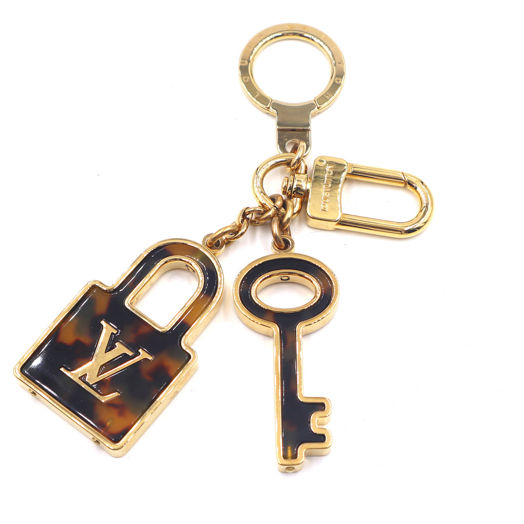 Louis Vuitton Gold Tortoise Print Resin Lock and Key Ring Charm