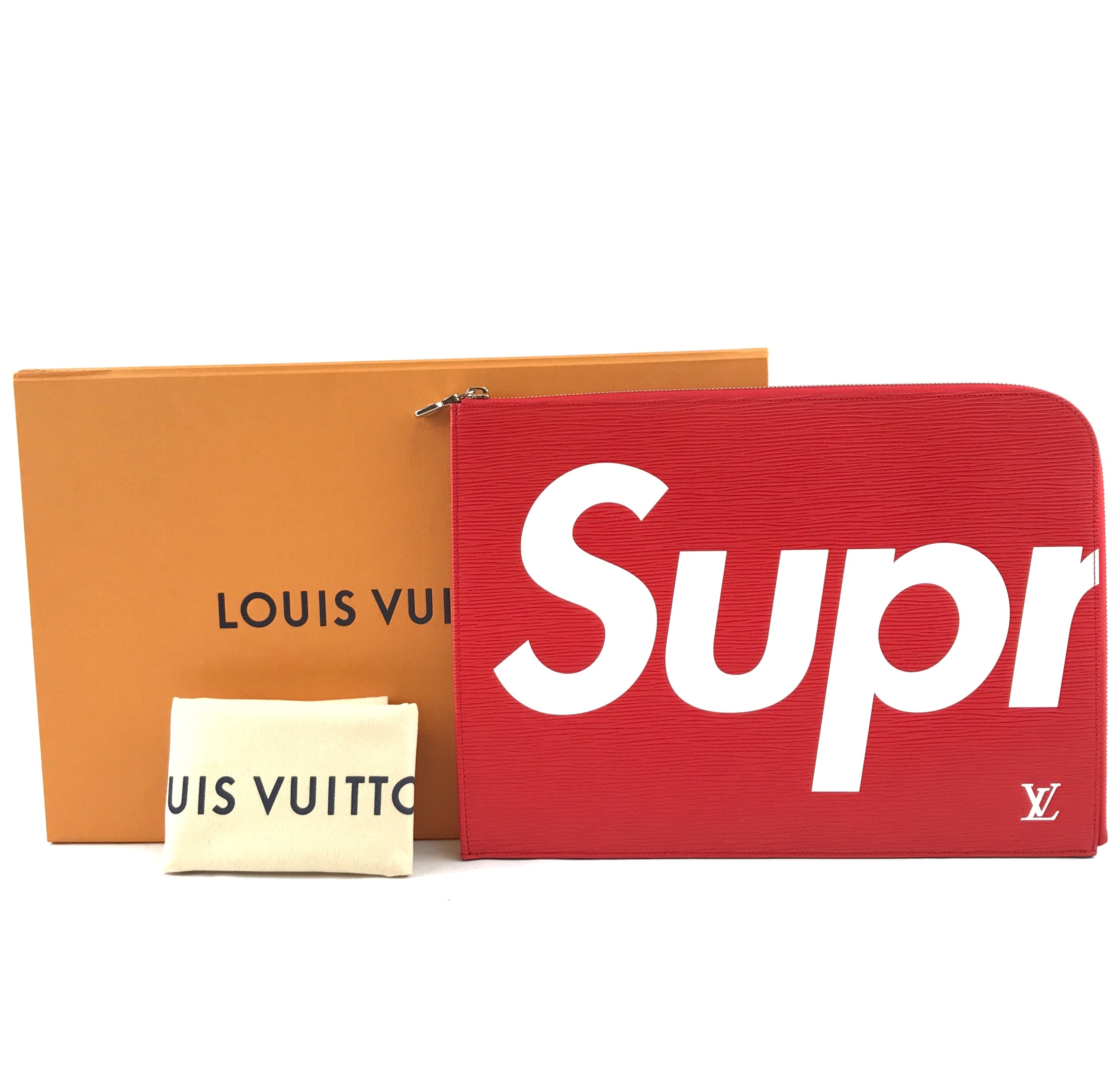 Louis Vuitton x Supreme Portfolio Zip Around Red Epi Leather