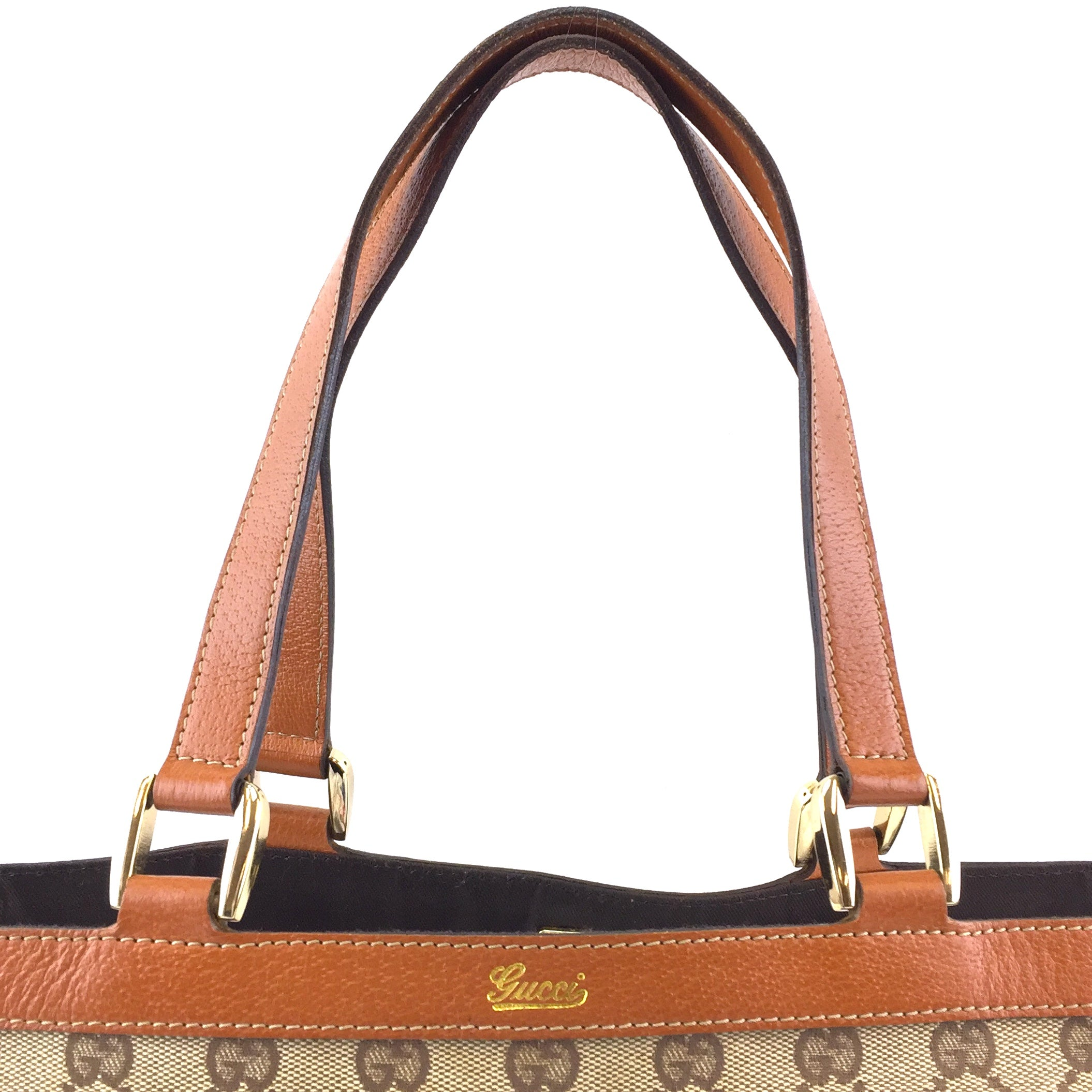 Gucci Abbey Tote Beige Tan Canvas and Leather