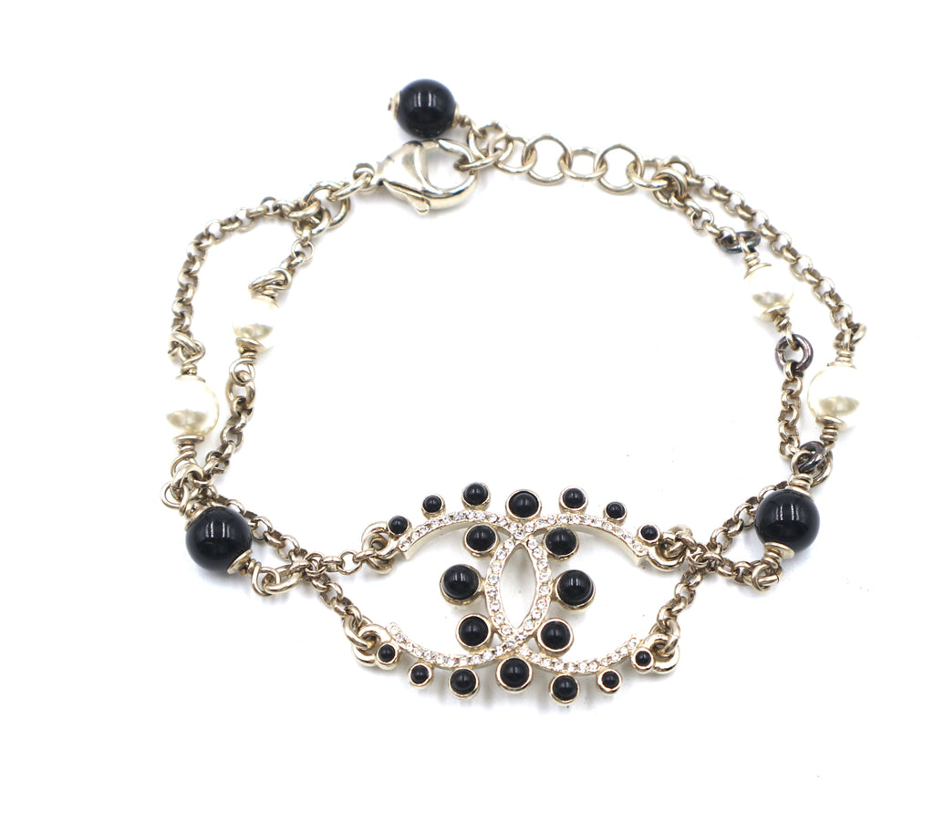 Chanel Black Gold CC Pearls Beads Crystals Bracelet