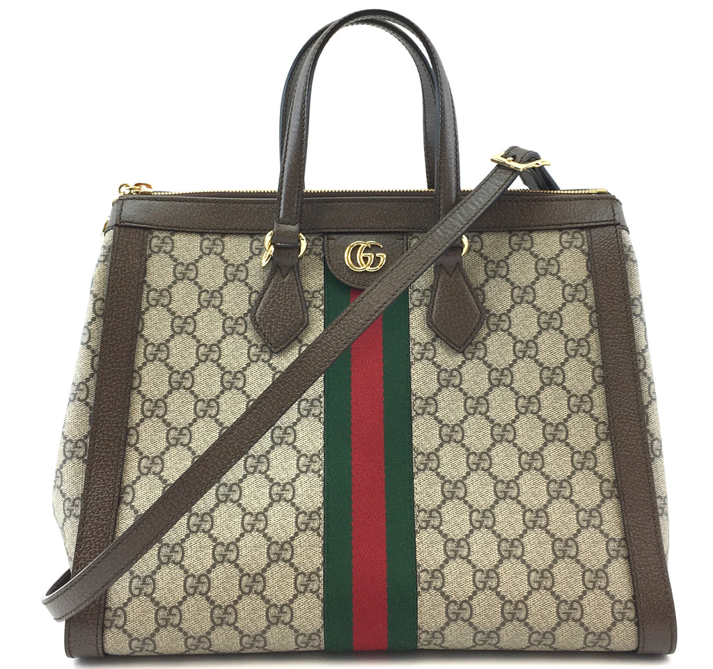 Gucci Ophidia Medium Tote GG Supreme Canvas and Leather