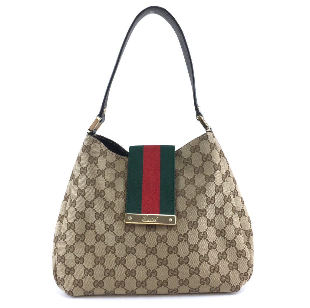 Gucci GG Hobo Bag New Ladies Web Brown Canvas and Leather