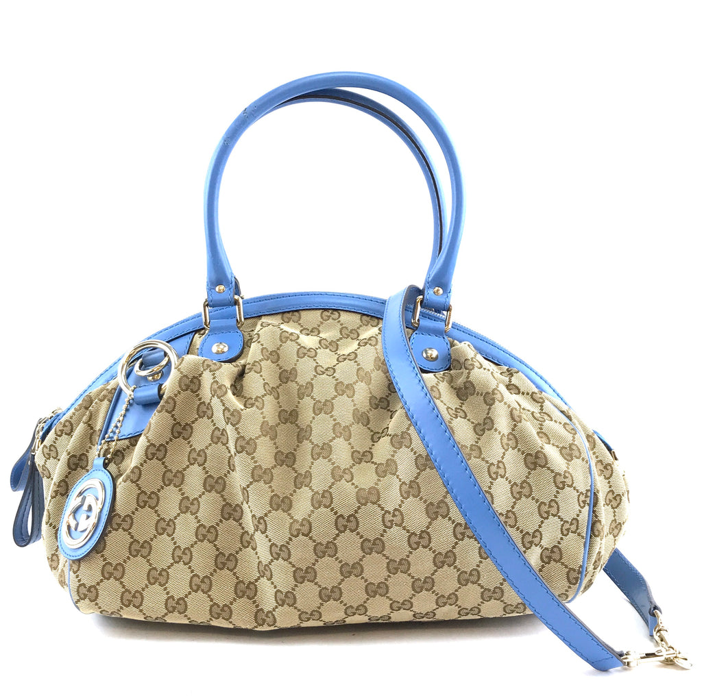 Gucci Sukey GG Beige Blue Canvas and Leather