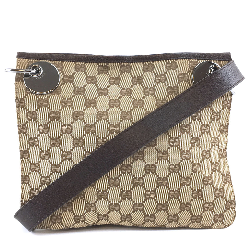 Gucci Messenger Bag GG Brown Canvas and Leather
