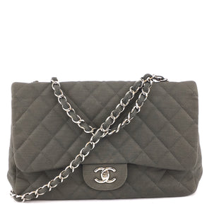 Chanel Single Flap Quilted CC Jumbo Grey Jersey