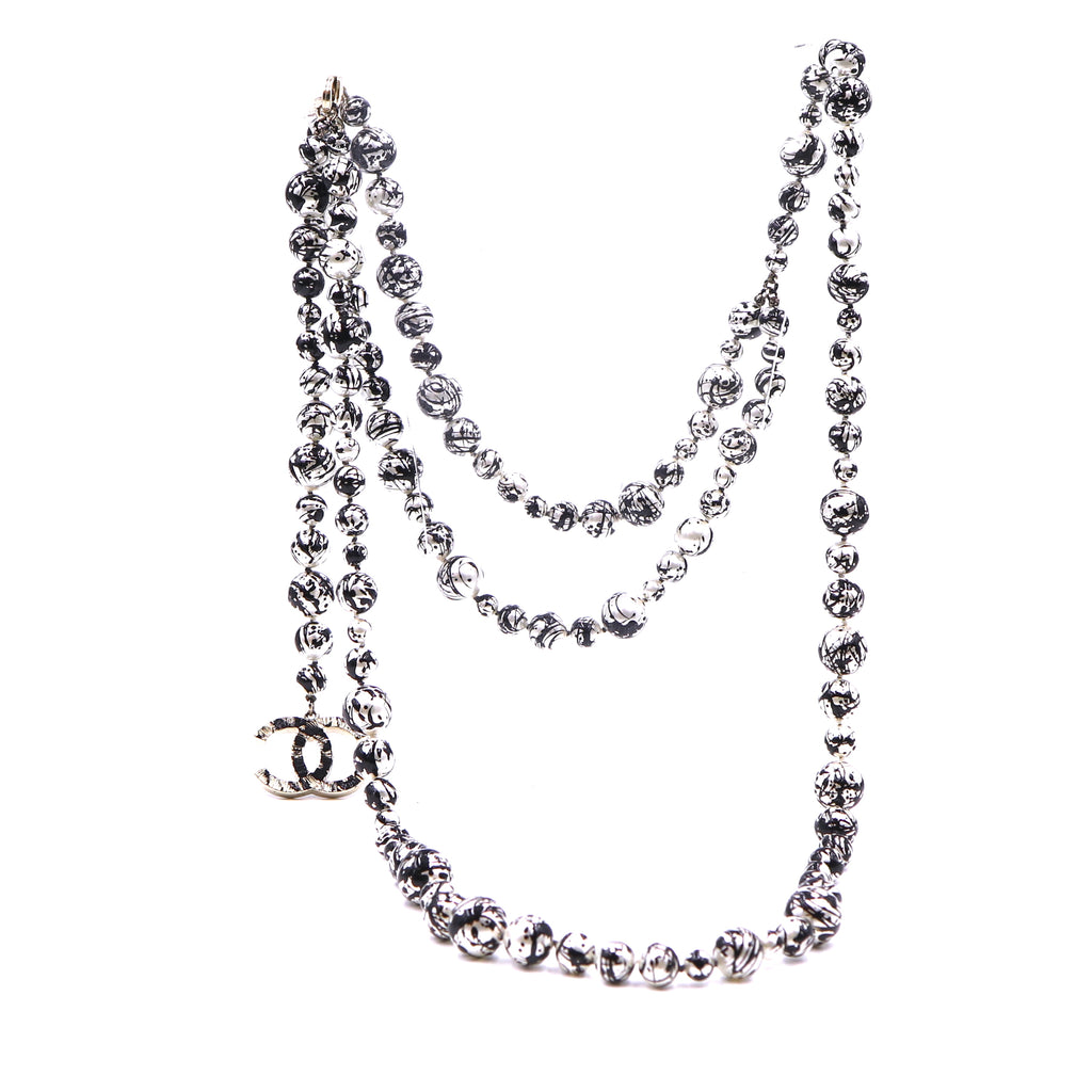 Chanel Black Silver Spilled Ink CC Pearls Long Necklace