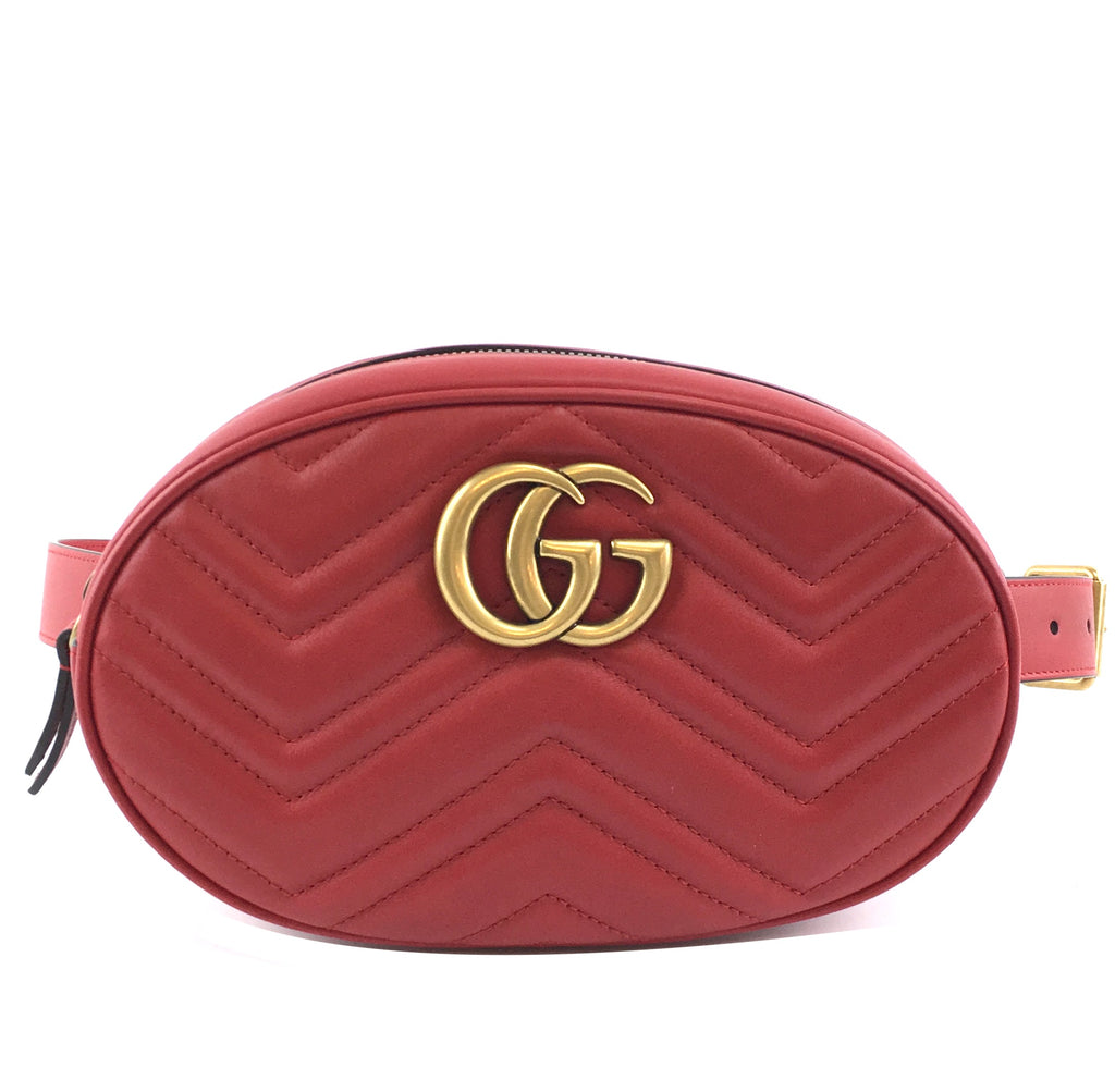 Gucci GG Logo Bum Marmont Red Leather