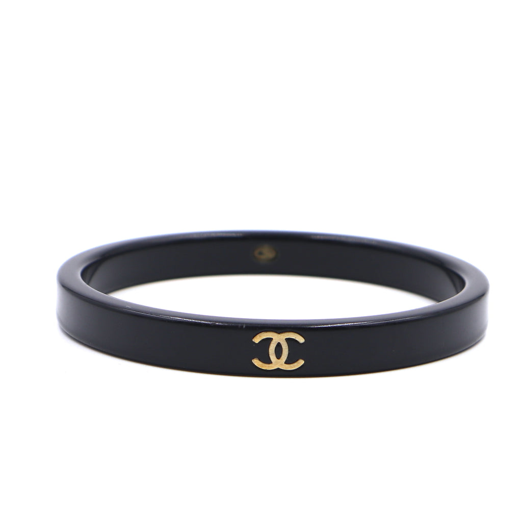 Chanel Black Timeless CC Logo Resin Bangle
