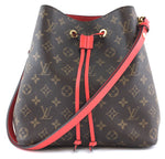 Louis Vuitton Neonoe Bucket Red Leather Monogram Canvas