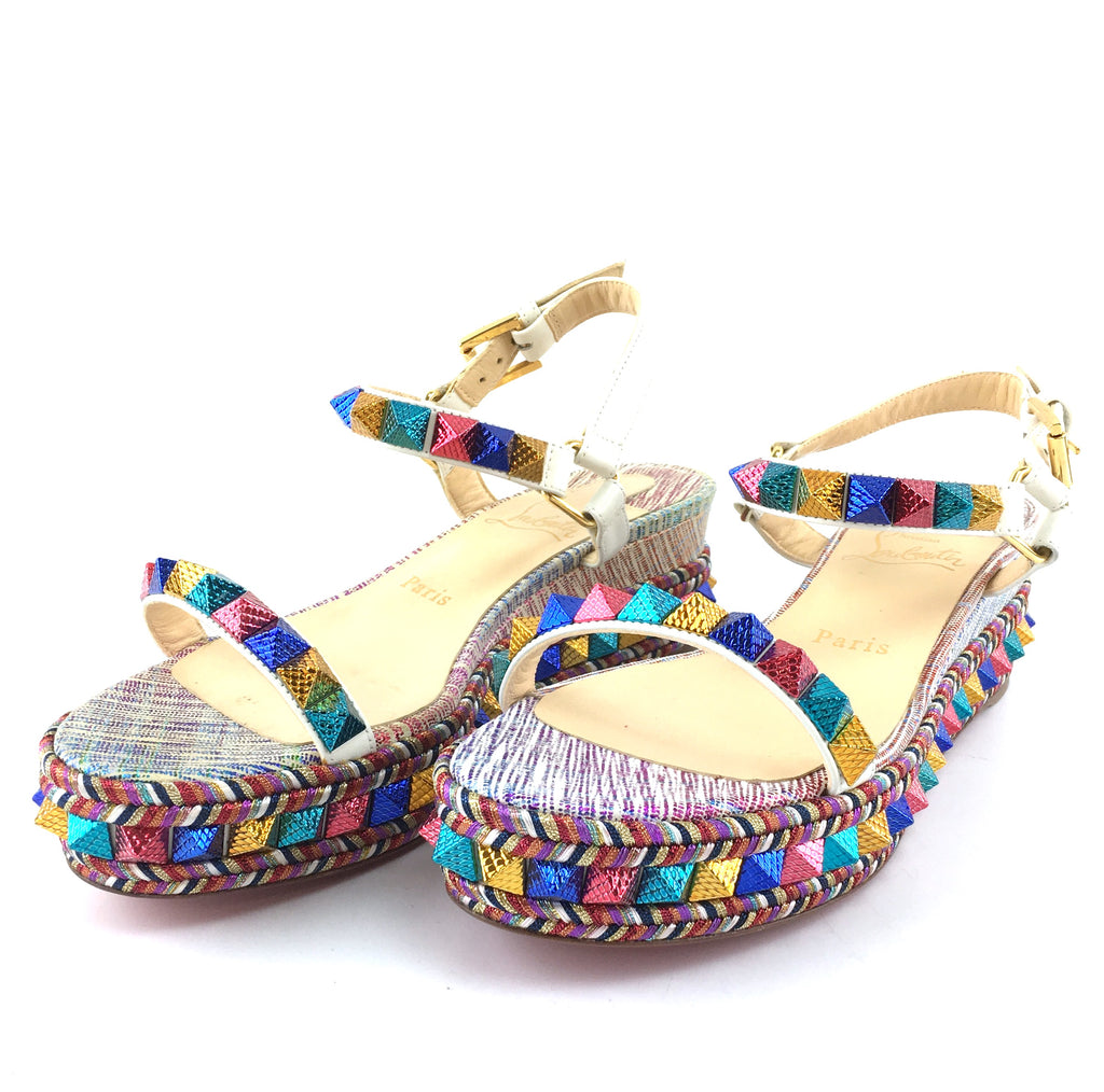 Christian Louboutin Multicolor Pyraclou Spiked Metallic Leather Wedge Sandals