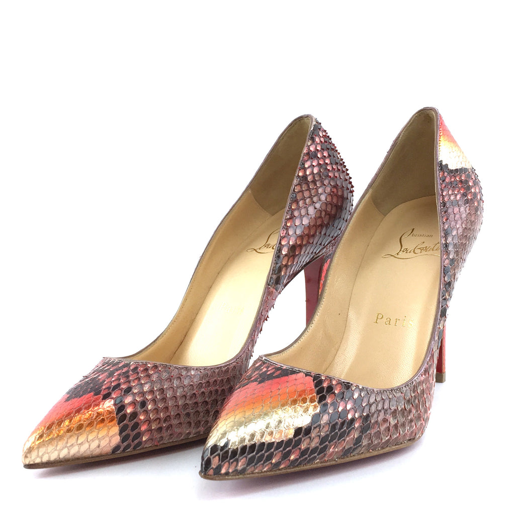 Christian Louboutin Multicolor Python Leather Pigalle 100 Pumps
