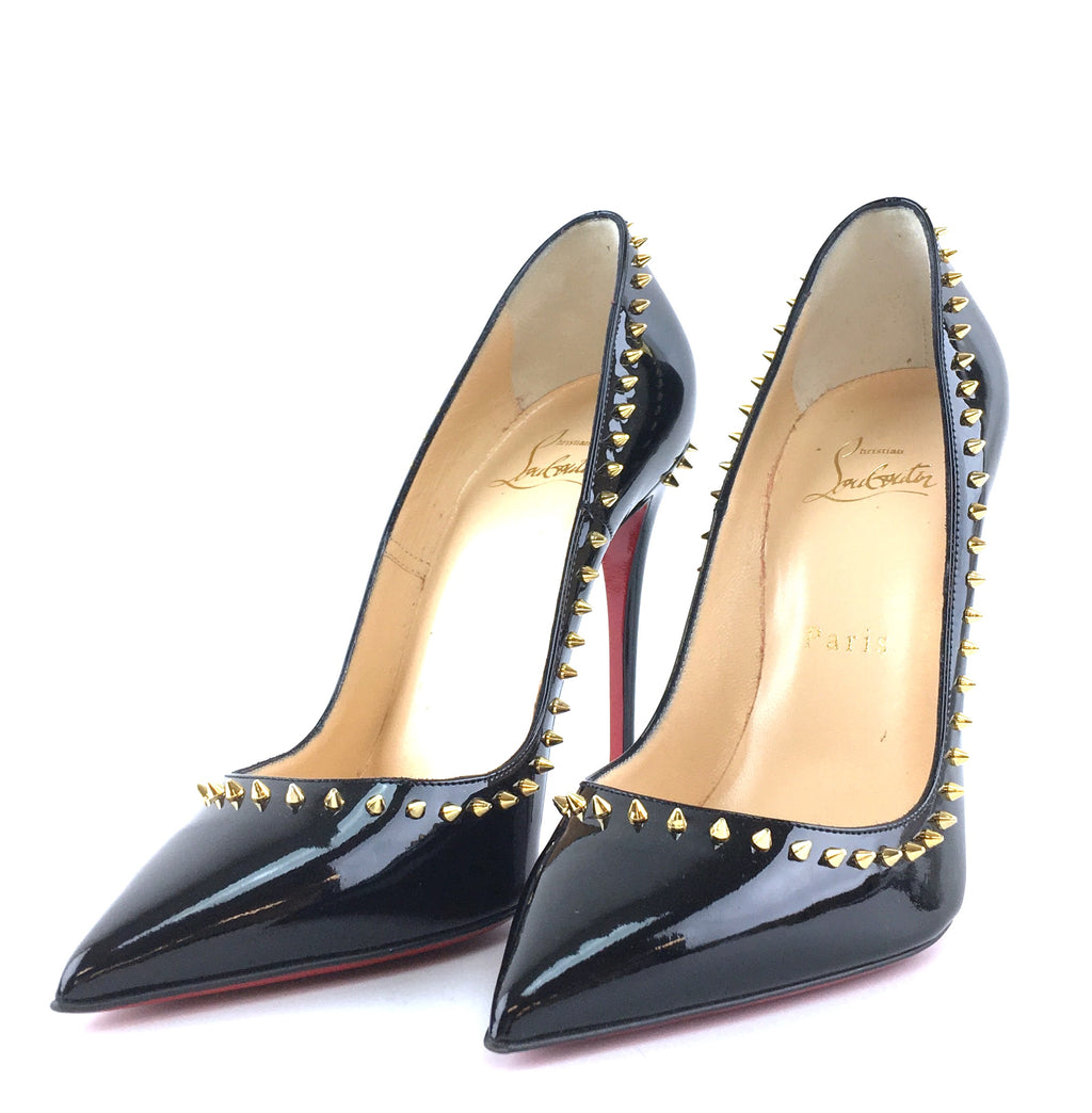 Christian Louboutin Black Anjelina Studs Spikes Patent Leather Pumps