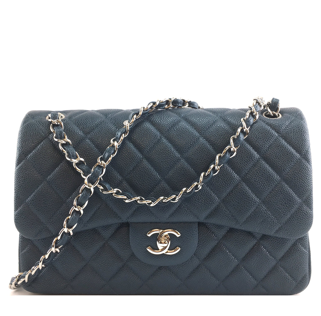 Chanel Classic Flap CC Jumbo Caviar Blue Calfskin Leather