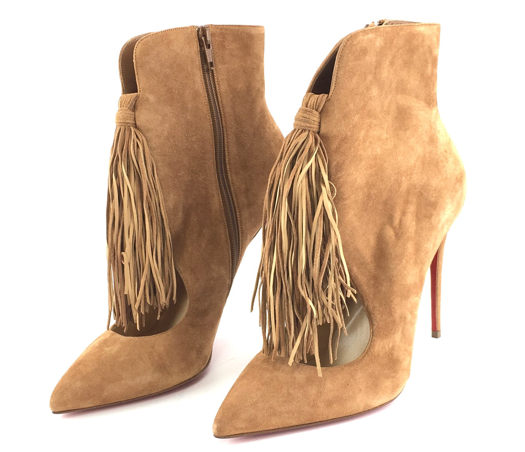 Christian Louboutin Brown Noisette Suede Ottocarl 100 Vea Ankle Pumps